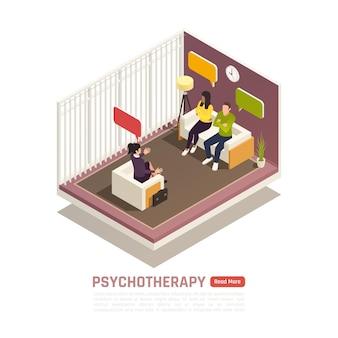 Composição isométrica de sessão de psicoterapia com casamento licenciado e terapeuta familiar ajuda jovem casal