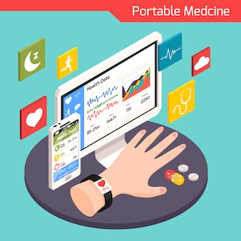 Composição isométrica de tecnologia médica moderna com dispositivos portáteis eletrônicos inteligentes conectados à ilustração do sistema virtual de cuidados de saúde