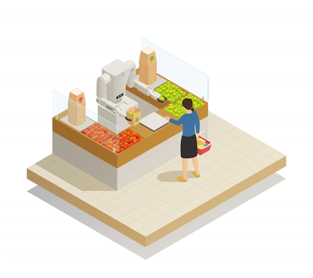 Composição isométrica de tecnologia robótica de supermercado