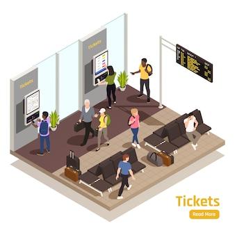 Composição isométrica de tecnologias amigáveis ao usuário com ilustração do sistema de interface do cliente da máquina de venda automática de bilhetes de trem de autoatendimento