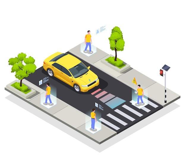 Composição isométrica de tecnologias de cidade inteligente com vista de uma estrada segura com carro automatizado e ilustração de pessoas caminhando