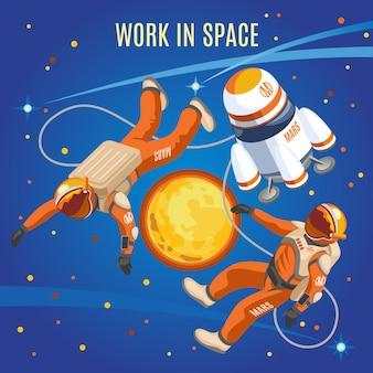 Composição isométrica de trabalho no espaço