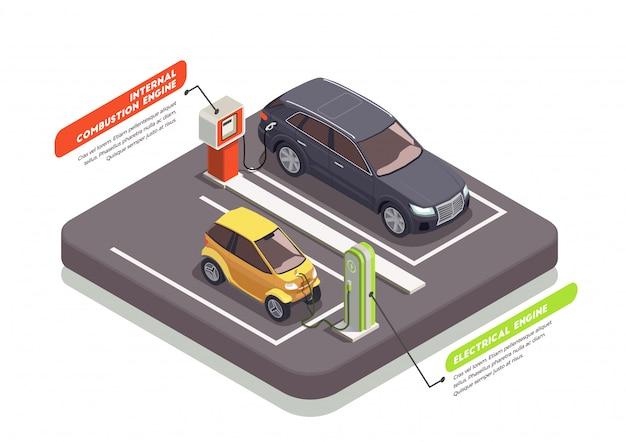 Composição isométrica de transporte com dois carros no carregamento e postos de gasolina 3d