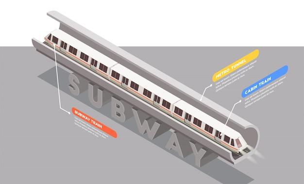 Composição isométrica de transporte com o trem do metrô no túnel 3d