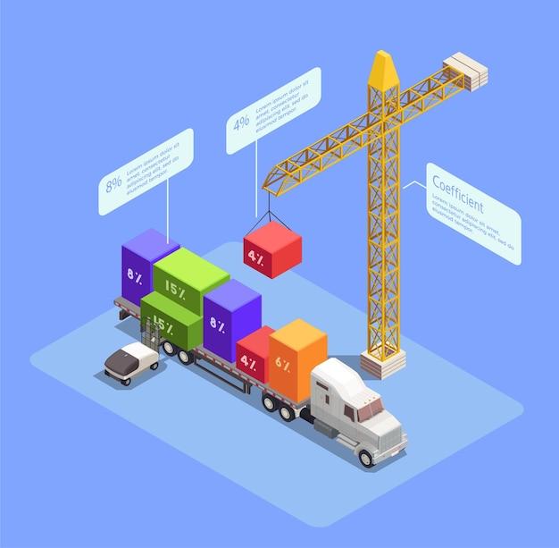 Composição isométrica de transporte de carga com guindaste carregando contêineres coloridos