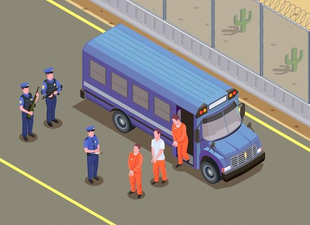 Composição isométrica de transporte de prisioneiros com guardas de segurança assistindo criminosos condenados em uniforme saindo da ilustração de van