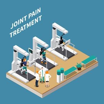 Composição isométrica de tratamento de dor nas articulações com médicos e pacientes em reabilitação em ilustração de equipamento moderno de fisioterapia