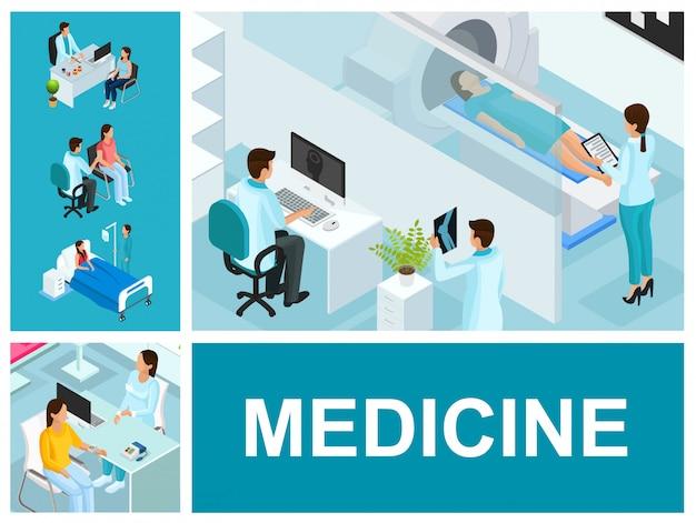 Composição isométrica de tratamento médico com pessoas que visitam médicos paciente no quarto do hospital e ressonância magnética