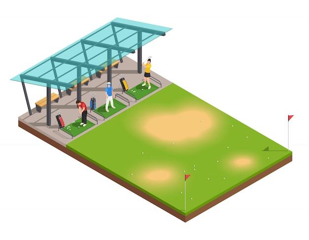 Composição isométrica de treinamento de golfe com instrutor e jogadores balançando putter sob dossel
