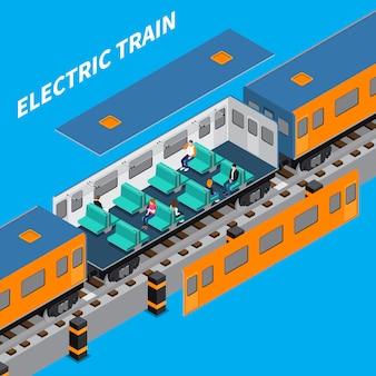 Composição isométrica de trem elétrico
