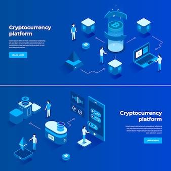 Composição isométrica de troca de criptomoedas e blockchain