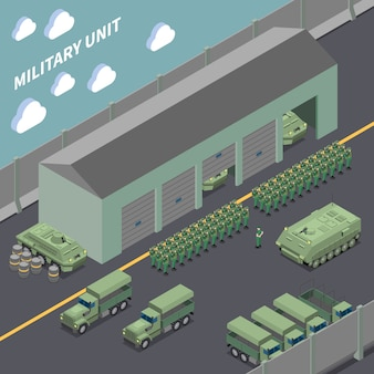 Composição isométrica de unidade militar com infantaria de caminhões do exército, veículos de combate e soldados nas fileiras