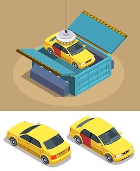 Composição isométrica de uso de propriedade de carro com imagens de carros de passageiros com manipulador magnético e caixa de armazenamento