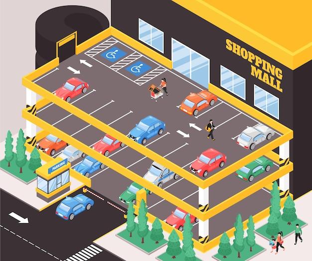 Composição isométrica de vários níveis para estacionamento de carros com texto e vista externa do prédio do estacionamento da cidade