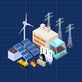 Composição isométrica de vetor de serviço elétrico com elementos de segurança energética