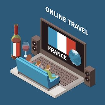 Composição isométrica de viagens online com pessoas assistindo a um programa sobre a frança no laptop