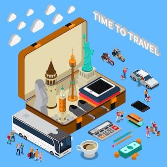Composição isométrica de viagens