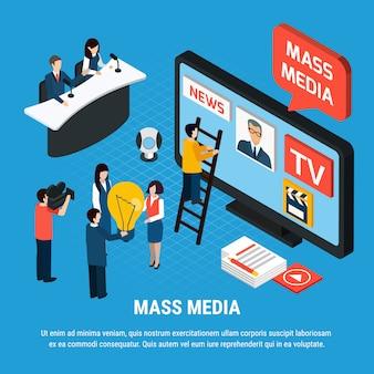 Composição isométrica de vídeo fotográfico com repórteres da mídia de massa e personagens de jornalista com texto editável