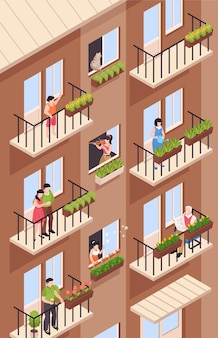 Composição isométrica de vizinhos com vista de um prédio alto com varandas e personagens de vizinhos