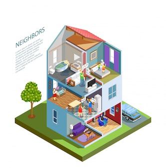 Composição isométrica de vizinhos