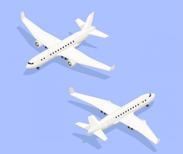 Composição isométrica do aeroporto com imagens isoladas de aeronaves a jato de dois ângulos diferentes, com ilustração vetorial de sombras