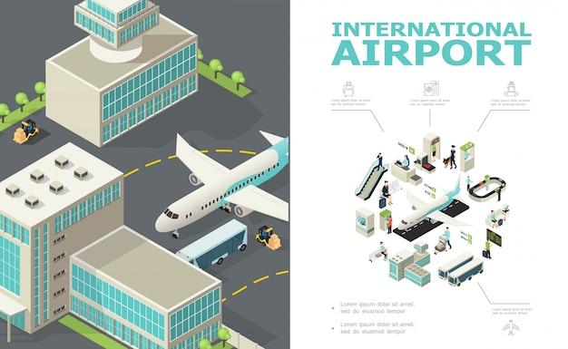 Composição isométrica do aeroporto internacional com edifícios de ônibus de avião mesa de check-in controles personalizados e passaporte passageiros partida placa bagagem correia transportadora