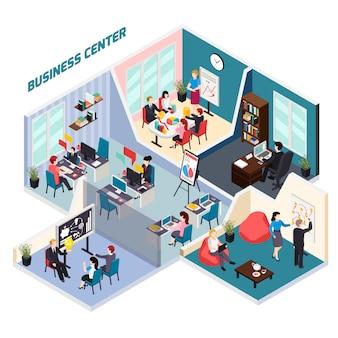 Composição isométrica do centro de negócios