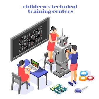Composição isométrica do centro de treinamento técnico infantil com código binário do sistema de controle do robô humanóide prática de programação