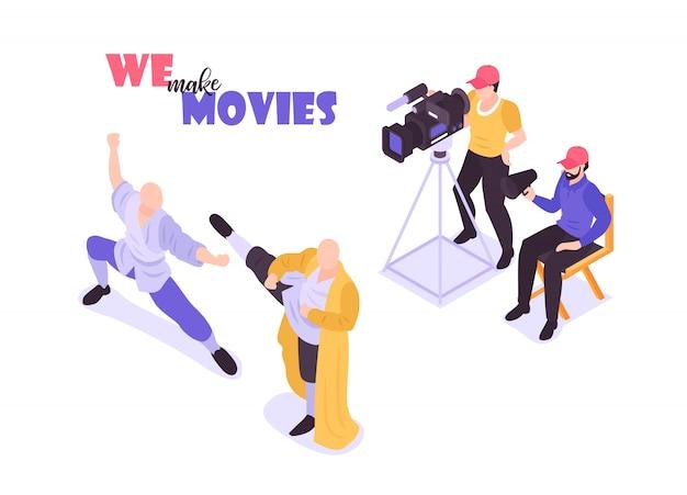 Composição isométrica do cinema de filme com personagens humanos de membros da equipe de filmagem e atores na ilustração de fundo em branco