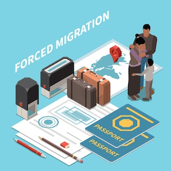 Composição isométrica do deslocamento da migração da população da mobilidade
