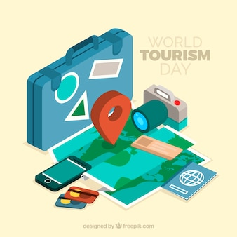 Composição isométrica do dia do turismo mundial