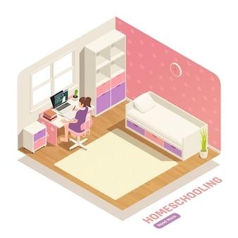 Composição isométrica do ensino em casa com uma garota assistindo vídeo aula no quarto dela
