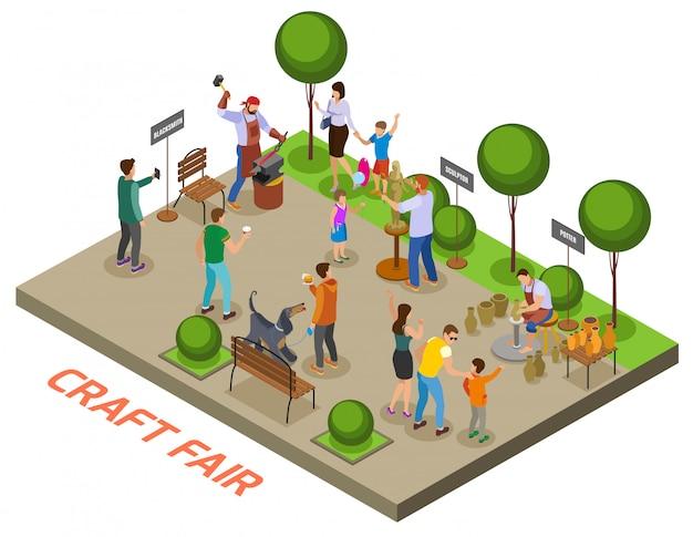 Composição isométrica do evento sazonal de artesanato ao ar livre com artesãos demonstrando habilidades e vendendo objetos artesanais