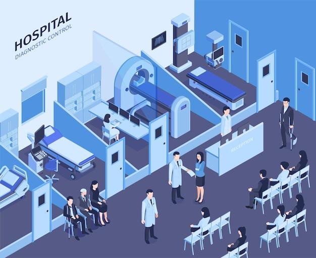 Composição isométrica do interior do hospital com recepcionista na recepção, sala de espera, diagnóstico, ultrassom, ressonância magnética, pacientes, ilustração