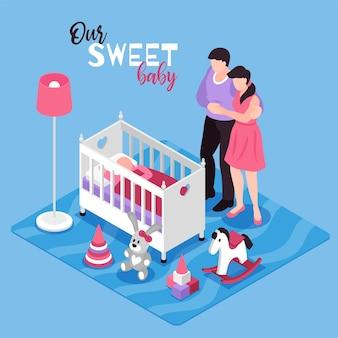 Composição isométrica do interior do quarto das crianças com o bebê dos pais abraçando na lâmpada de brinquedos de berço