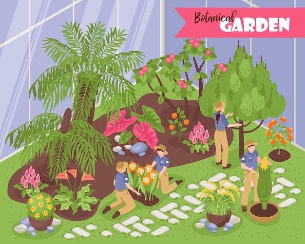 Composição isométrica do jardim botânico com texto ornamentado editável e vista interna da estufa com jovens naturalistas