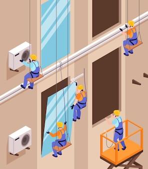 Composição isométrica do montador com vista do muro alto do prédio com trabalhadores instalando janelas e condicionadores de ar