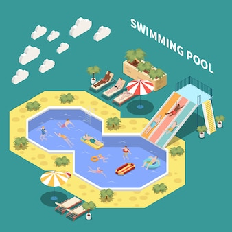 Composição isométrica do parque aquático aquático com espreguiçadeiras toboáguas e piscinas abertas com pessoas e texto