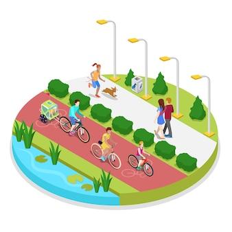 Composição isométrica do parque da cidade com mulher correndo