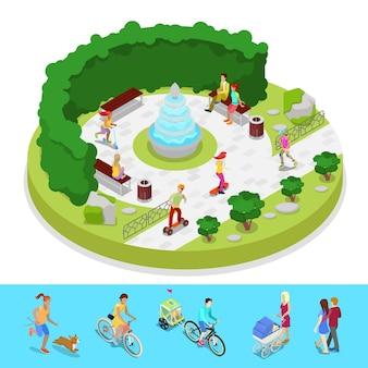 Composição isométrica do parque da cidade com pessoas ativas