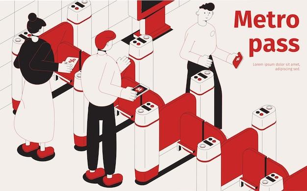 Composição isométrica do passe de metrô em preto e vermelho com os passageiros entrando na estação de metrô através da ilustração das catracas