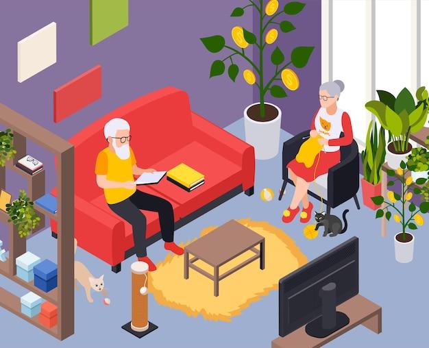 Composição isométrica do plano de preparação para a aposentadoria com cenário de apartamentos internos e casal de idosos
