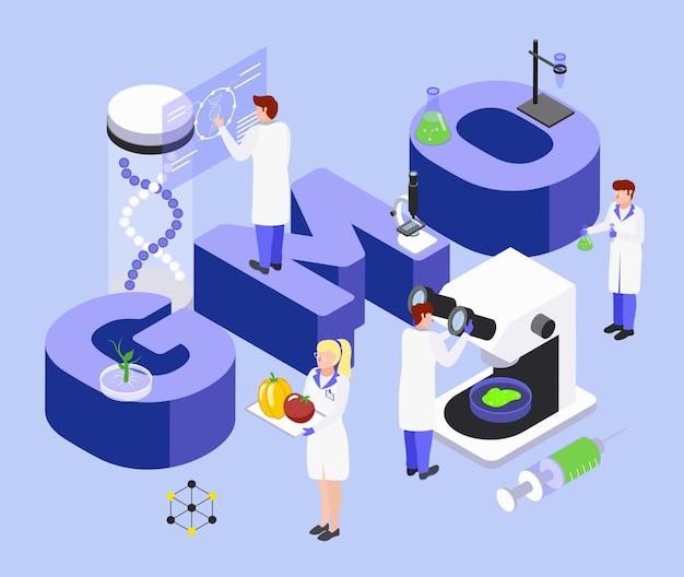 Composição isométrica do processo de bioengenharia de alimentos com letras grandes do gmo laboratório de manipulação de dna pesquisa científica
