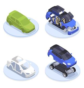 Composição isométrica do projeto do carro definida com modelagem