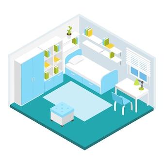 Composição isométrica do quarto de crianças