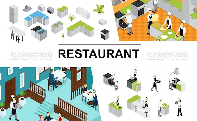 Composição isométrica do restaurante com cozinheiros de móveis de cozinha interior, cozinhar diferentes pratos e refeições garçom visitantes sentado à mesa