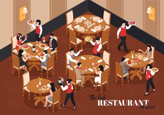 Composição isométrica do restaurante com vista interna do saguão com mesas redondas e personagens de garçons com ilustração de texto