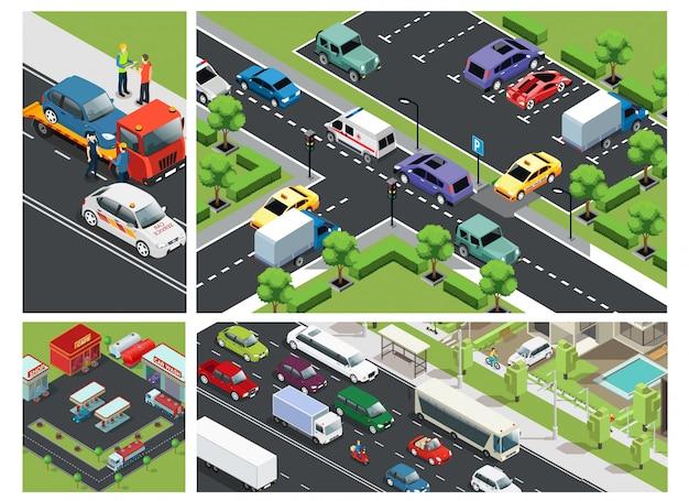 Composição isométrica do tráfego urbano com carros em movimento no estacionamento, construção de posto de gasolina e assistência na estrada