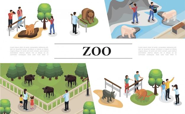 Composição isométrica do zoológico com visitantes zookeepers tigre canguru rinoceronte búfalo tigre marrons e ursos polares