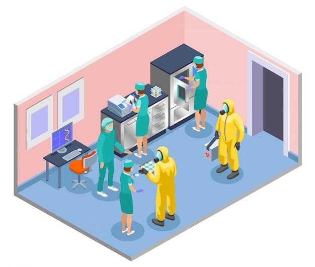 Composição isométrica e colorida de microbiologia com cientistas em jalecos de laboratório e ilustração de máscaras médicas